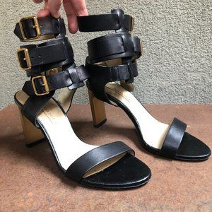 BCBG Made in Italy Triple Buckle Leather Heels